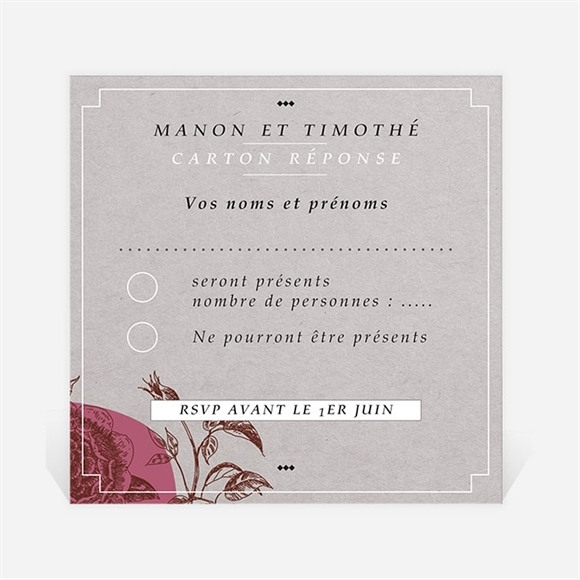Carton réponse mariage Gravure originale tendance réf.N300717