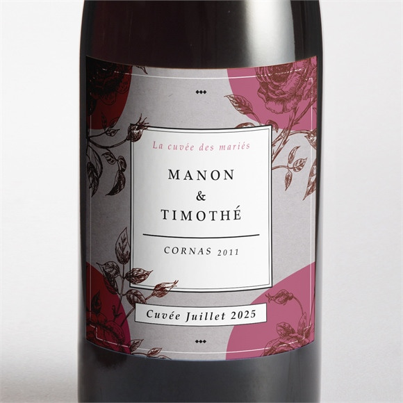 Etiquette de bouteille mariage Gravure originale tendance réf.N300718
