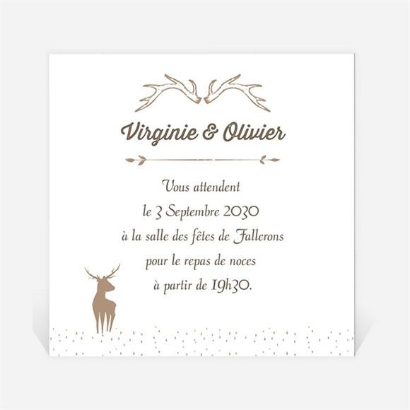 Carton d'invitation mariage Le Cerf réf.N300719