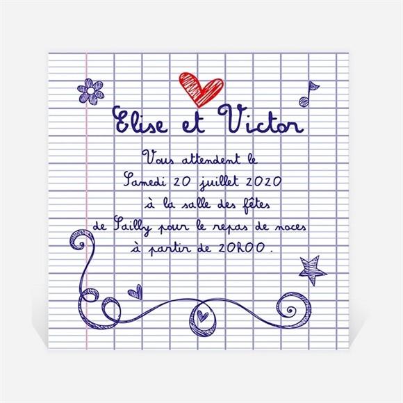 Carton d'invitation mariage Les écoliers réf.N300725