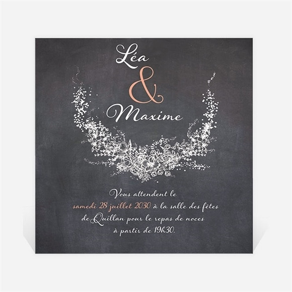 Carton d'invitation mariage Ardoise ronde réf.N300722