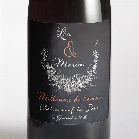 Etiquette de bouteille mariage Ardoise ronde réf.N300724