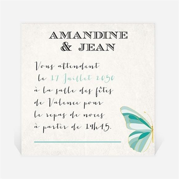 Carton d'invitation mariage Papillon original réf.N300728