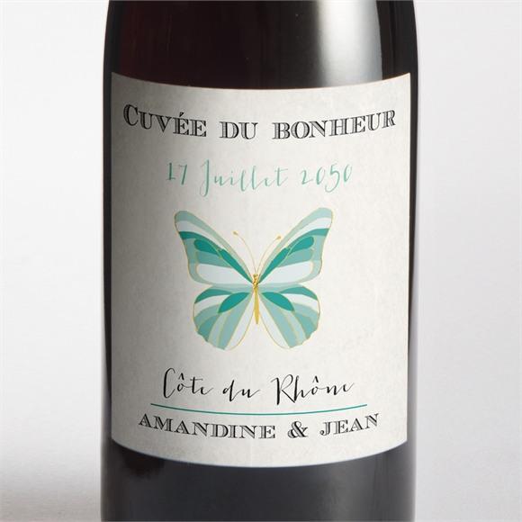 Etiquette de bouteille mariage Papillon original réf.N300730