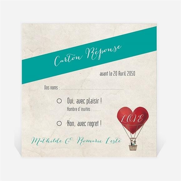 Carton réponse mariage Mongolfiere vintage réf.N300741
