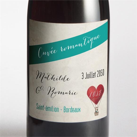 Etiquette de bouteille mariage Mongolfiere vintage réf.N300742