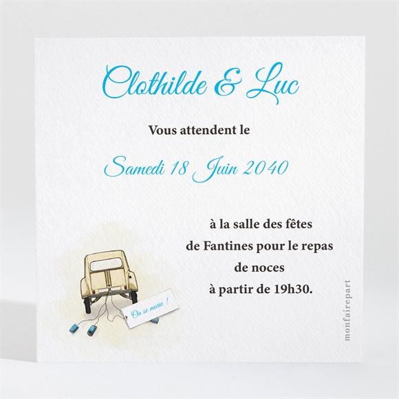 Carton d'invitation mariage La 2Cv du Bonheur réf.N300737