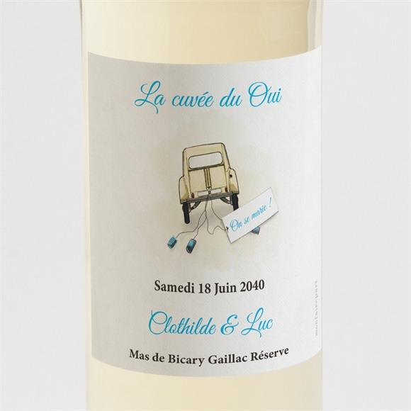Etiquette de bouteille mariage La 2Cv du Bonheur réf.N300739