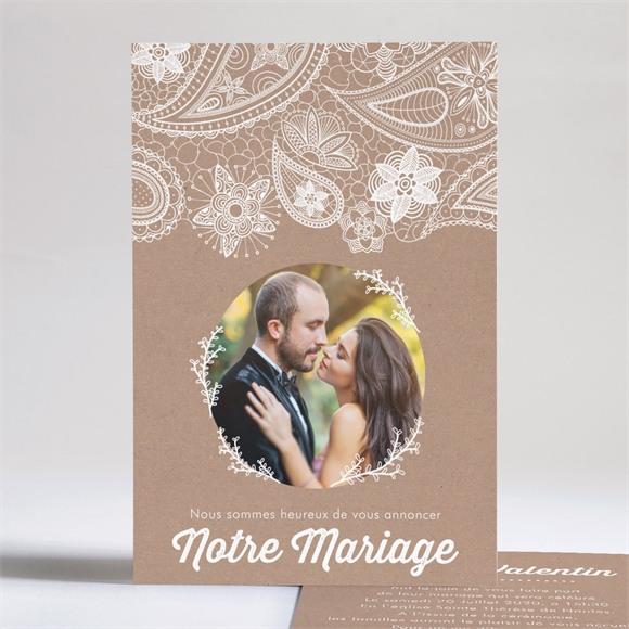 Faire-part mariage Kraft dentelle blanche réf.N241104
