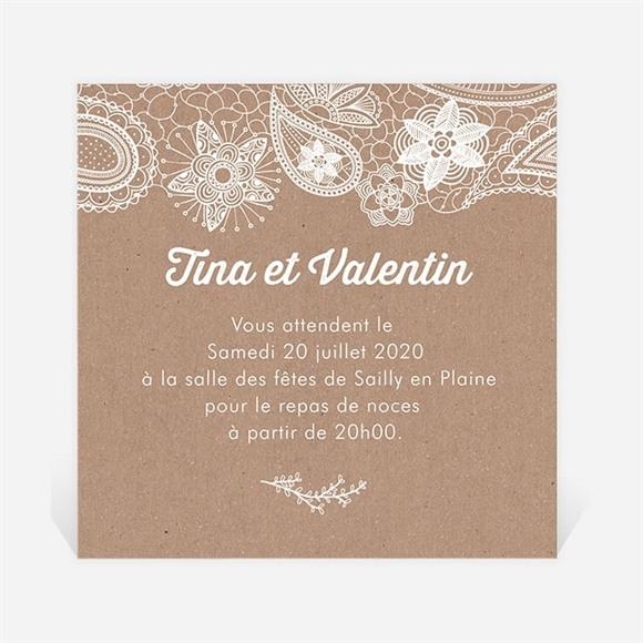 Carton d'invitation mariage Kraft dentelle blanche réf.N300743