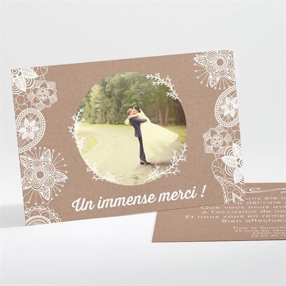 Remerciement mariage Kraft dentelle blanche réf.N11178