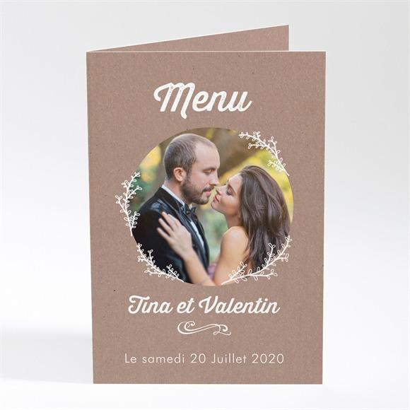 Menu mariage Kraft dentelle blanche réf.N401565