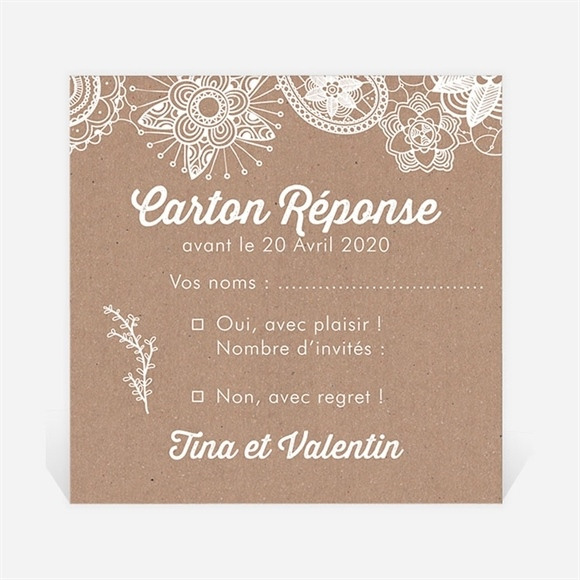 Carton réponse mariage Kraft dentelle blanche réf.N300744