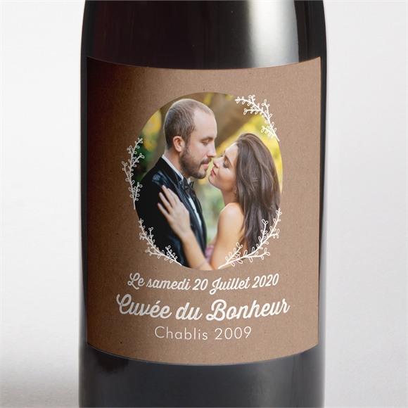 Etiquette de bouteille mariage Kraft dentelle blanche réf.N300745