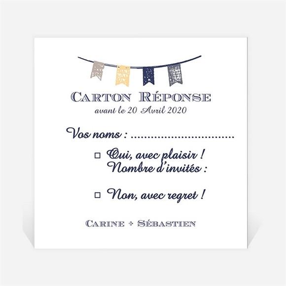 Carton réponse mariage Avec fanions réf.N300753