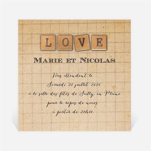 Carton d'invitation mariage A la craie A jamais réf.N300755