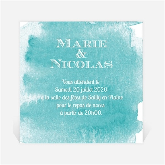 Carton d'invitation mariage Touche d'aquarelle réf.N300758
