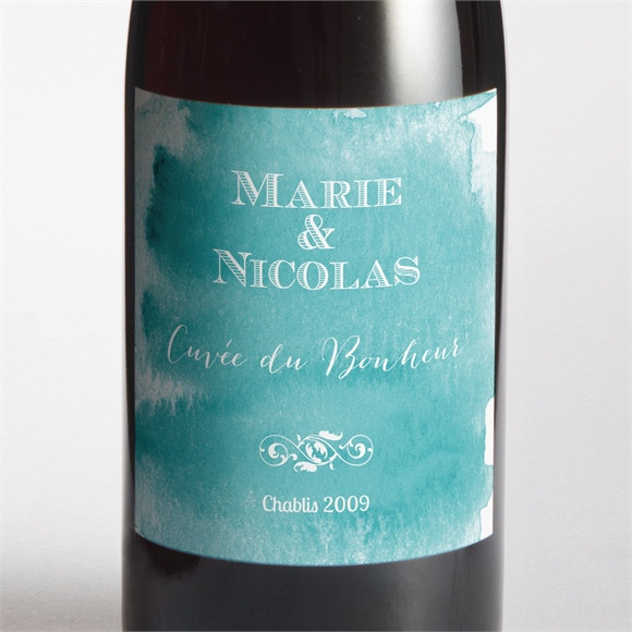 Etiquette de bouteille mariage Touche d'aquarelle réf.N300760
