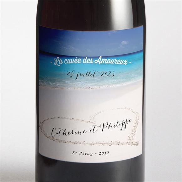 Etiquette de bouteille mariage Sur le sable réf.N300751