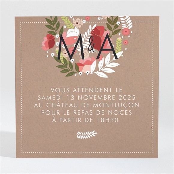 Carton d'invitation mariage Esprit campagne chic réf.N300761