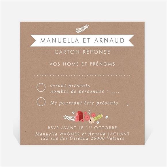 Carton réponse mariage Esprit campagne chic réf.N300762