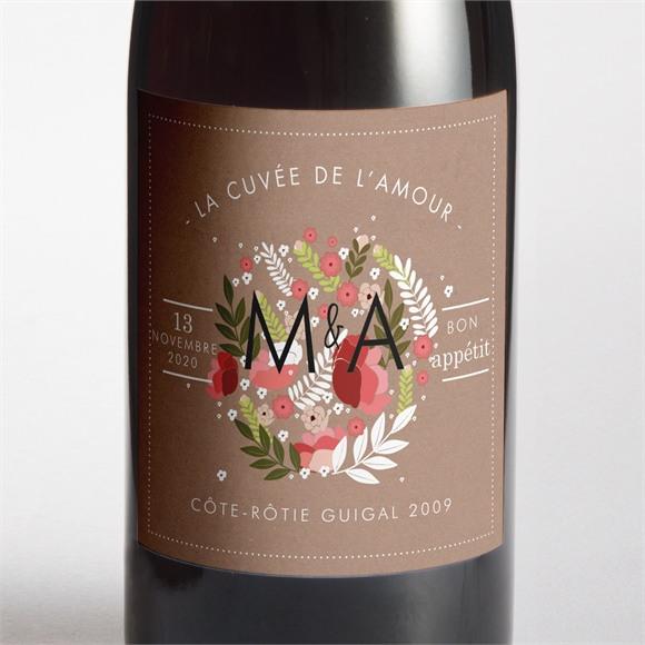 Etiquette de bouteille mariage Esprit campagne chic réf.N300763