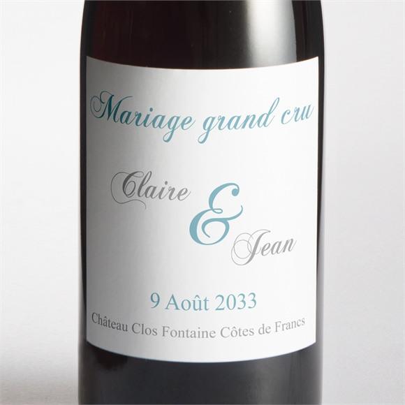 Etiquette de bouteille mariage L'élégance en photos réf.N300766