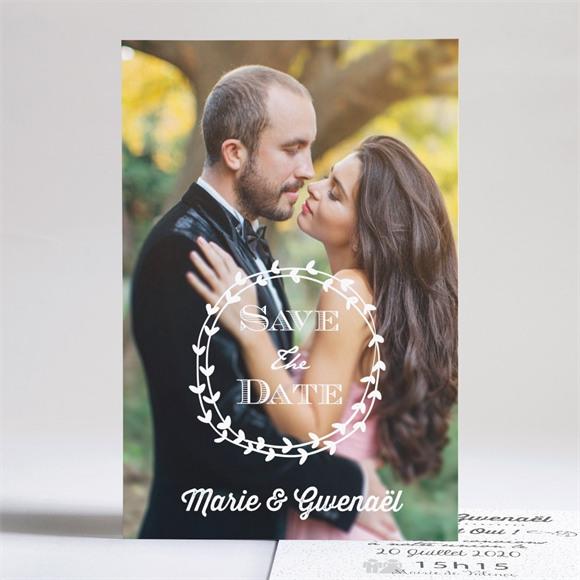 Faire-part mariage Gravure blanche originale réf.N241107