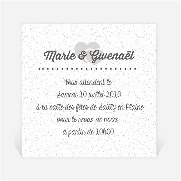 Carton d'invitation mariage Gravure blanche originale réf.N300770