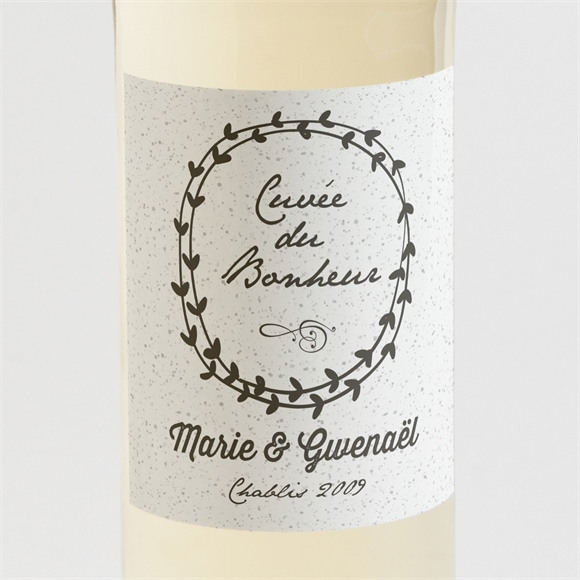 Etiquette de bouteille mariage Gravure blanche originale réf.N300772