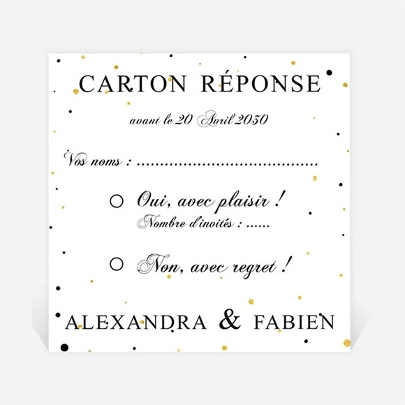 Carton réponse mariage Alliances scintillantes réf.N300777