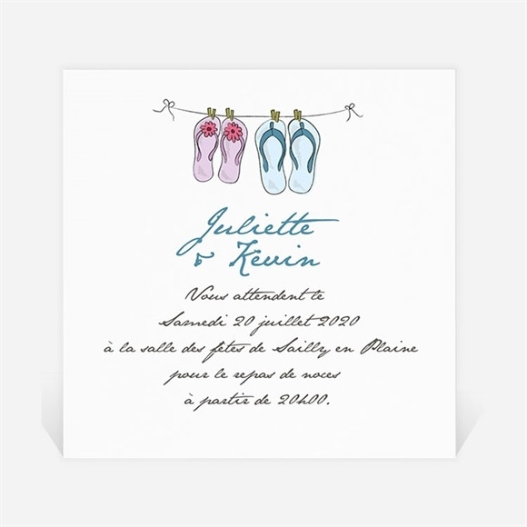 Carton d'invitation mariage En Tongs ! réf.N300782