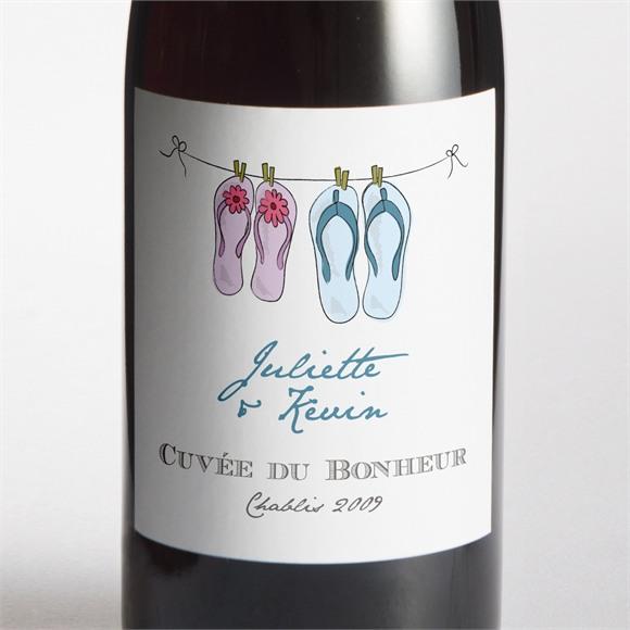 Etiquette de bouteille mariage En Tongs ! réf.N300784