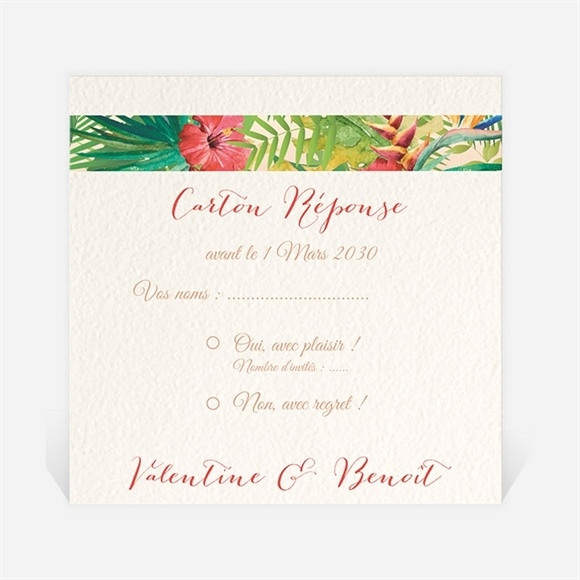 Carton réponse mariage Nos Tropiques réf.N300786