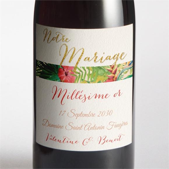 Etiquette de bouteille mariage Nos Tropiques réf.N300787