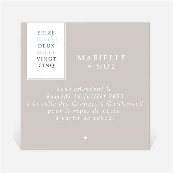 Carton d'invitation mariage Couleur Taupe réf.N300792