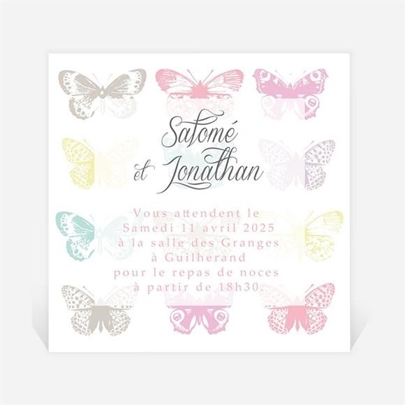 Carton d'invitation mariage Papillons de couleurs réf.N300795