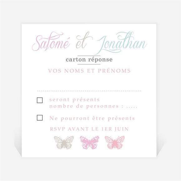 Carton réponse mariage Papillons de couleurs réf.N300796
