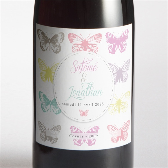 Etiquette de bouteille mariage Papillons de couleurs réf.N300797