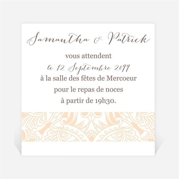 Carton d'invitation mariage Arabesque végétale et florale réf.N300804