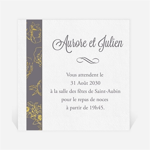 Carton d'invitation mariage Gris anthracite réf.N300816