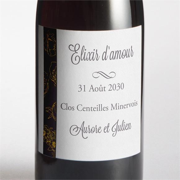 Etiquette de bouteille mariage Gris anthracite réf.N300818