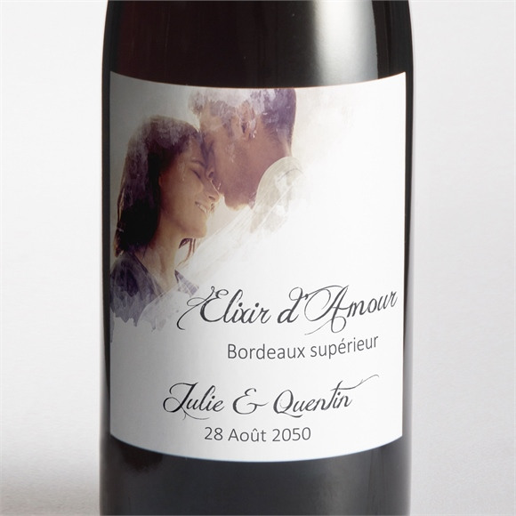 Etiquette de bouteille mariage Tendresse photo réf.N300830