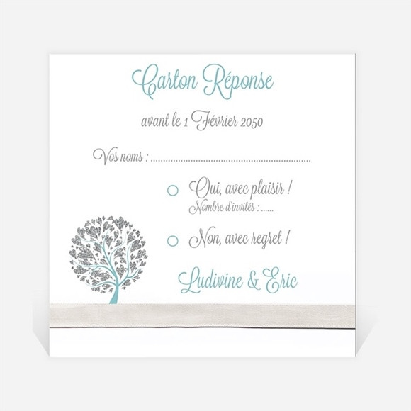 Carton réponse mariage Arbre de coeurs réf.N300841