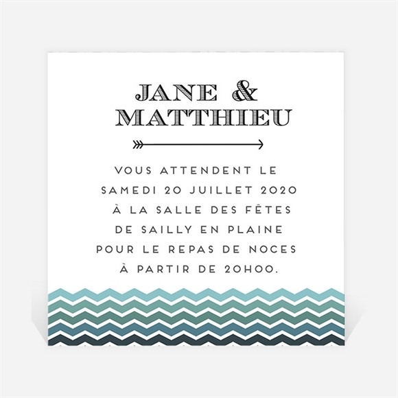Carton d'invitation mariage Chevrons camaïeu bleu et vert réf.N300843