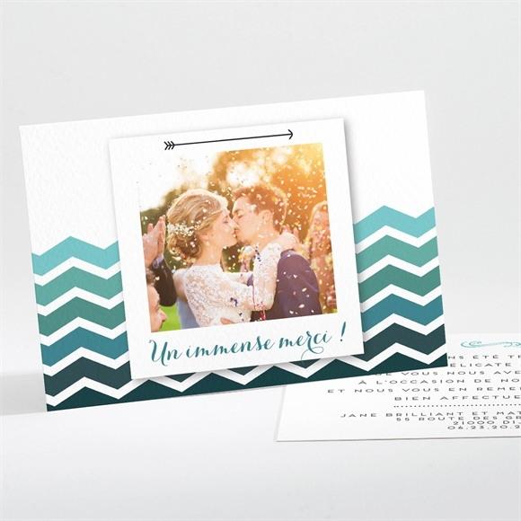 Remerciement mariage Chevrons camaïeu bleu et vert réf.N11192