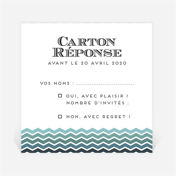 Carton réponse mariage Chevrons camaïeu bleu et vert réf.N300844