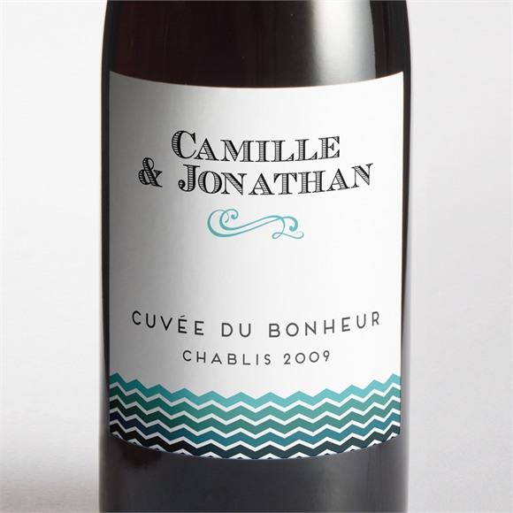 Etiquette de bouteille mariage Chevrons camaïeu bleu et vert réf.N300845