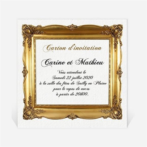 Carton d'invitation mariage Imitation cadre or réf.N300869