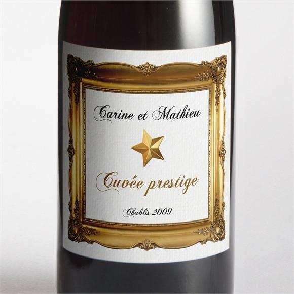 Etiquette de bouteille mariage Imitation cadre or réf.N300871